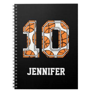 Baloncesto personalizado número 10 libreta espiral