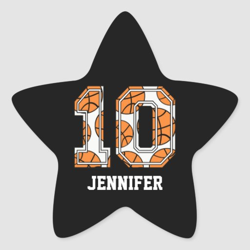 Baloncesto personalizado número 10 calcomania forma de estrella