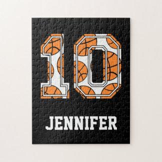 Baloncesto personalizado número 10 rompecabeza con fotos