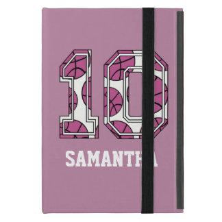 Baloncesto personalizado número 10 rosado y blanco iPad mini cárcasa