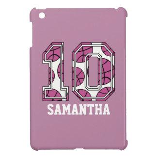 Baloncesto personalizado número 10 rosado y blanco iPad mini cobertura