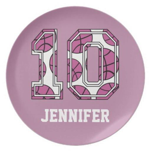 Baloncesto personalizado número 10 rosado y blanco platos de comidas
