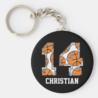 Baloncesto personalizado número 14 llavero redondo tipo pin