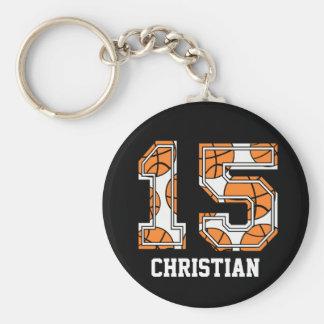 Baloncesto personalizado número 15 llavero redondo tipo pin