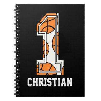 Baloncesto personalizado número 1 libros de apuntes con espiral