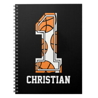Baloncesto personalizado número 1 libreta espiral