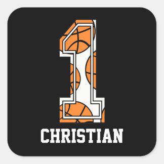 Baloncesto personalizado número 1 pegatina cuadrada