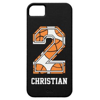 Baloncesto personalizado número 2 funda para iPhone 5 barely there