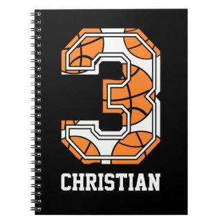 Baloncesto personalizado número 3 libreta espiral