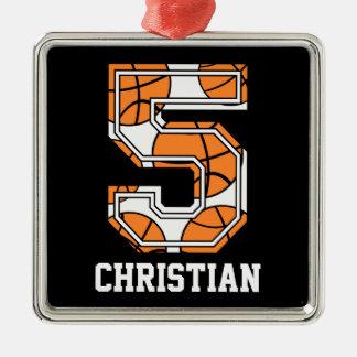 Baloncesto personalizado número 5 ornamento para arbol de navidad