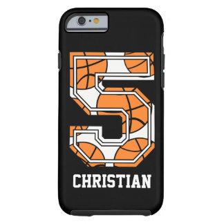 Baloncesto personalizado número 5 funda de iPhone 6 tough