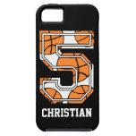 Baloncesto personalizado número 5 iPhone 5 protectores