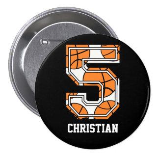 Baloncesto personalizado número 5 pin redondo 7 cm