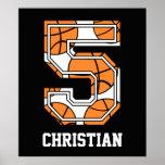 Baloncesto personalizado número 5 posters