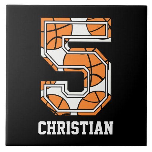 Baloncesto personalizado número 5 teja  ceramica