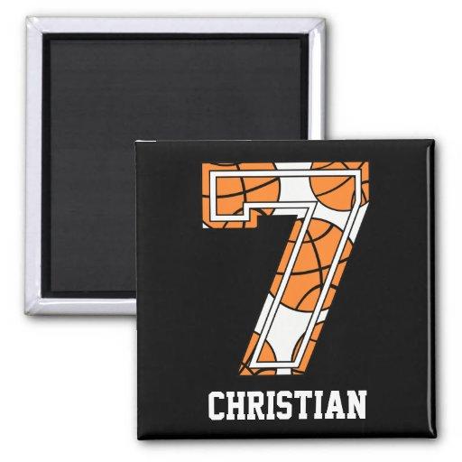 Baloncesto personalizado número 7 imán cuadrado
