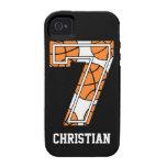 Baloncesto personalizado número 7 iPhone 4 carcasa