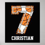 Baloncesto personalizado número 7 poster