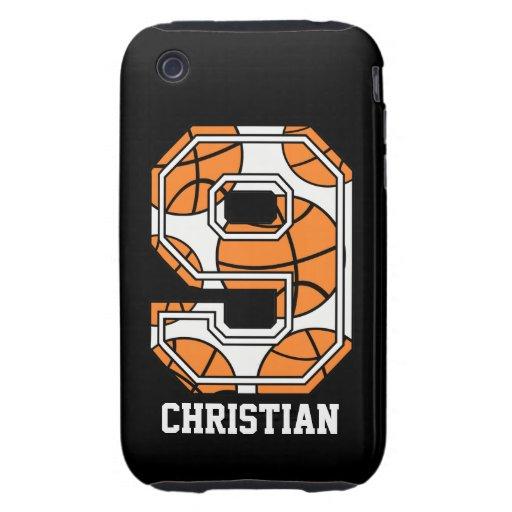 Baloncesto personalizado número 9 tough iPhone 3 protectores