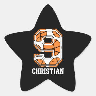 Baloncesto personalizado número 9 pegatina en forma de estrella