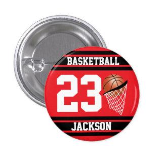 Baloncesto personalizado rojo y negro pin redondo 2,5 cm