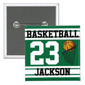 Baloncesto personalizado verde oscuro y blanco pin cuadrada 5 cm