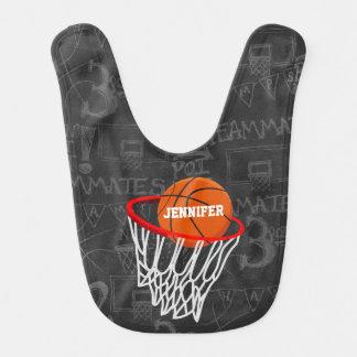 Baloncesto personalizado y aro de la pizarra baberos para bebé