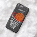 Baloncesto personalizado y aro de la pizarra funda de iPhone 6 barely there