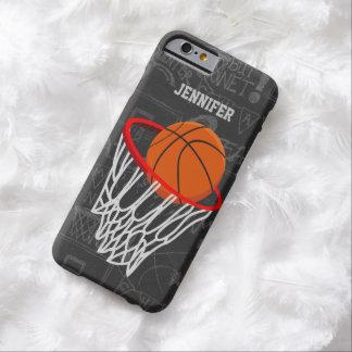 Baloncesto personalizado y aro de la pizarra funda para iPhone 6 barely there