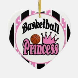 Baloncesto princesa-rosado adorno navideño de cerámica en forma de corazón