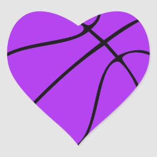 Baloncesto púrpura de encargo pegatina de corazon personalizadas