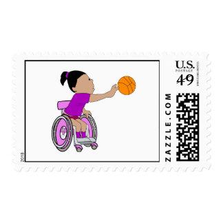 Baloncesto púrpura del chica de la silla de ruedas sello