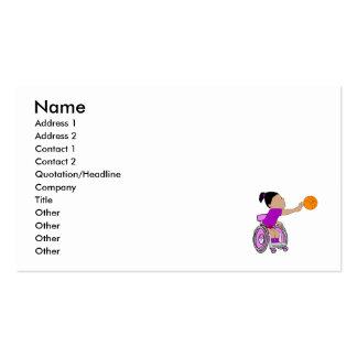 Baloncesto púrpura del chica de la silla de ruedas tarjetas de visita
