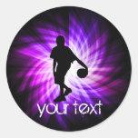 Baloncesto púrpura fresco etiqueta redonda