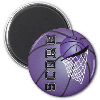 Baloncesto púrpura imán redondo 5 cm