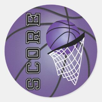 Baloncesto púrpura pegatina redonda