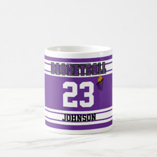 Baloncesto púrpura y blanco tazas de café