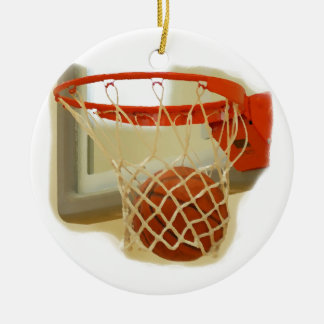 Baloncesto que baja a través de aro adorno redondo de cerámica