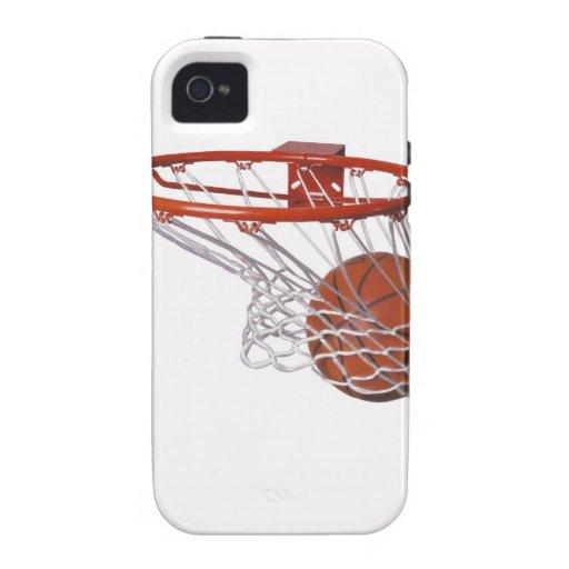 Baloncesto que pasa a través de aro iPhone 4 fundas