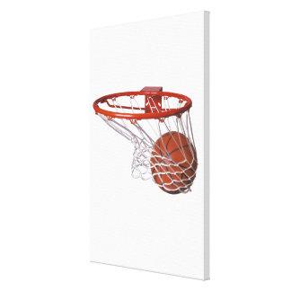 Baloncesto que pasa a través de aro lona envuelta para galerías