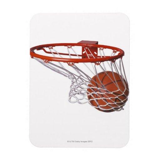 Baloncesto que pasa a través de aro rectangle magnet