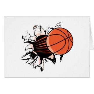 baloncesto que rasga a través tarjeta de felicitación