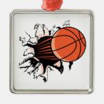 baloncesto que se rompe con potente ornaments para arbol de navidad