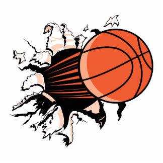 baloncesto que se rompe con potente escultura fotográfica