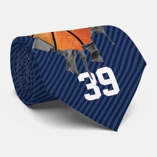 Baloncesto rasgado (oscuro/personalizado) corbatas personalizadas