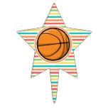 Baloncesto; Rayas brillantes del arco iris Figura De Tarta