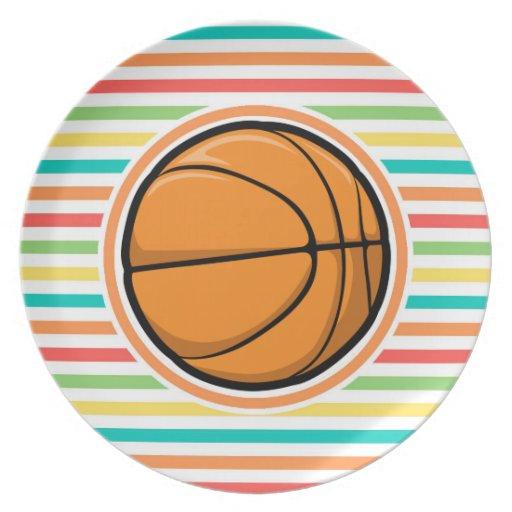 Baloncesto; Rayas brillantes del arco iris Plato De Comida