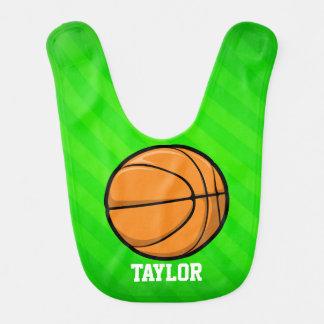 Baloncesto; Rayas verdes de neón Baberos De Bebé