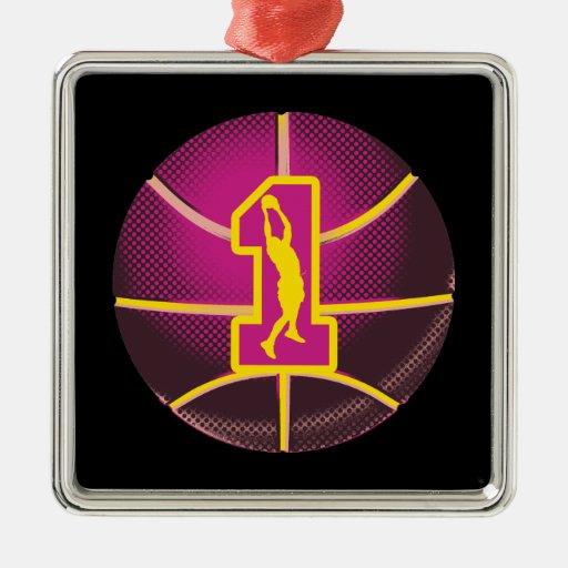 Baloncesto retro del número 1 adorno navideño cuadrado de metal