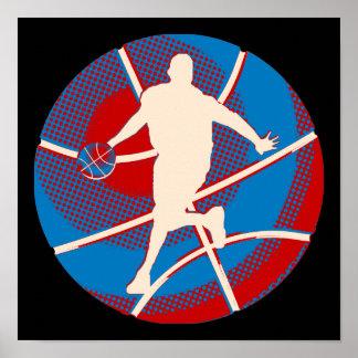 Baloncesto retro y jugador póster
